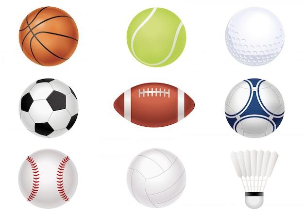 Zestaw piłek sportowych na białym tle