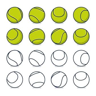 Zestaw piłek tenisowych na białym tle