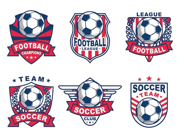 Zestaw piłka nożna logo lub odznaka klubu piłkarskiego.