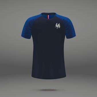 Zestaw piłkarski france 2018, szablon koszulki do koszulki piłkarskiej.