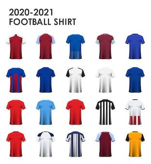 Zestaw piłkarski lub projekt szablonu koszulki piłkarskiej.