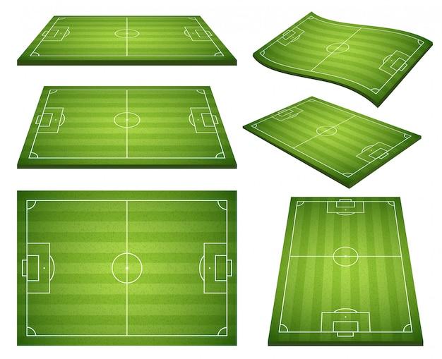 Zestaw piłkarskich zielonych pól