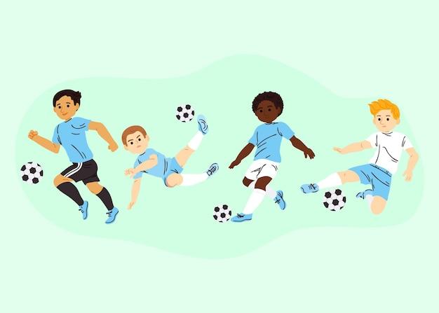 Zestaw piłkarzy z kreskówek