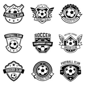 Zestaw piłki nożnej, herby piłki nożnej. element na logo, etykietę, godło, znak. ilustracja