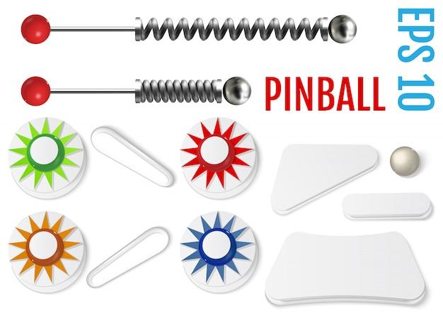 Zestaw pinball. zestaw zderzaków i płetw.
