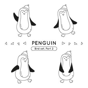 Zestaw pingwinów bazgroły w różnych pozach na białym tle