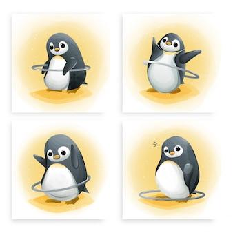Zestaw pingwinów szablonowych próbuje grać w hula-hoop do ćwiczeń. ładna karta akwarela.