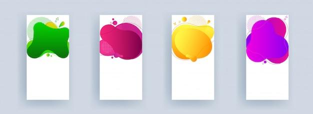 Zestaw pionowego banera lub ulotki z miejscem na wiadomość na innym kolorze płynnego abstrakcyjnego dzieła sztuki w czterech opcjach.