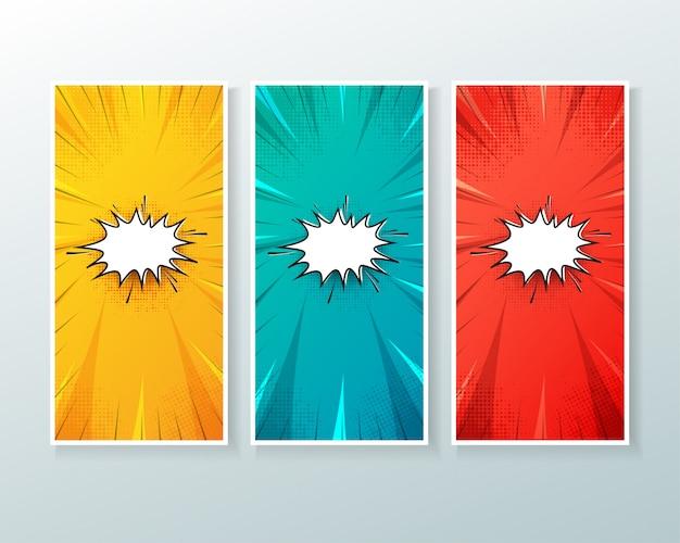 Zestaw pionowy baner tło z komiksu