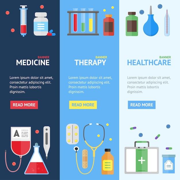Zestaw pionowy transparent usługi medyczne.