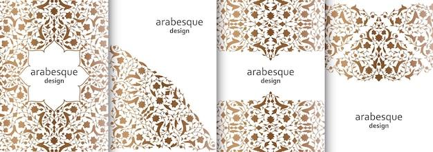 Zestaw pionowych arabesek kwiatowy banery oddziałów z kwiatów, liści i płatków