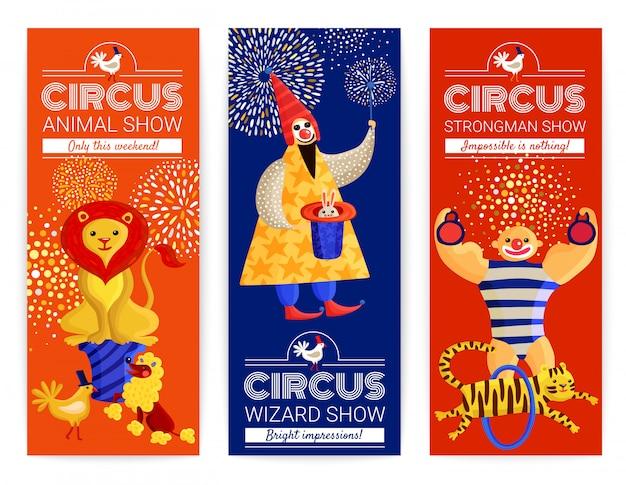 Zestaw pionowych banerów cyrkowych