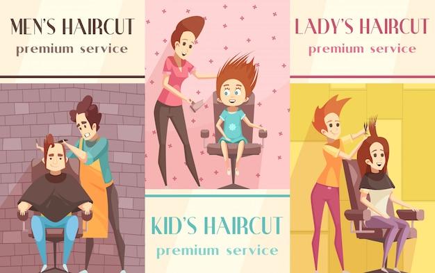 Zestaw pionowych banerów dla zakładów fryzjerskich