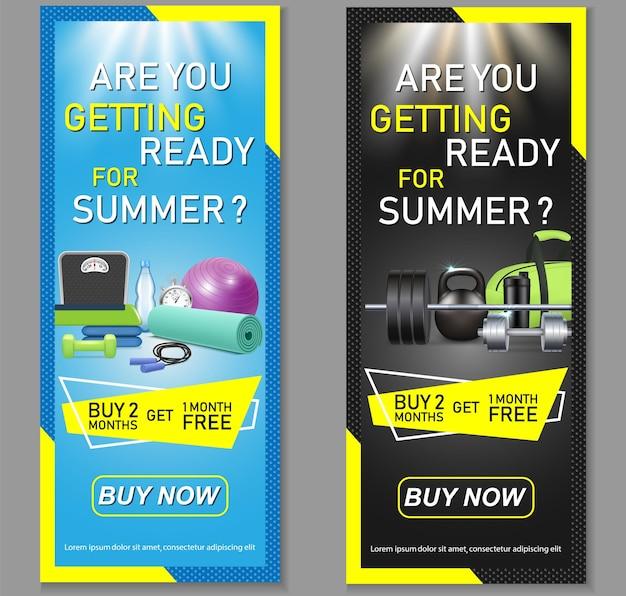 Zestaw pionowych banerów fitness. specjalne oferty członkostwa w siłowni