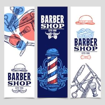 Zestaw pionowych banerów fryzjerskich