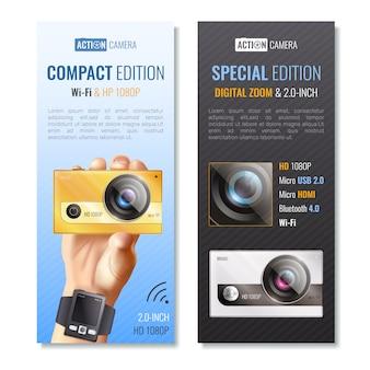 Zestaw pionowych banerów kamery akcji