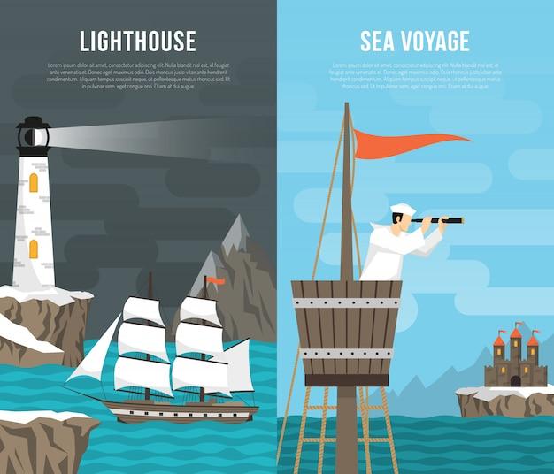 Zestaw pionowych banerów morskich