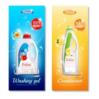 Zestaw pionowych banerów na ubrania z detergentami