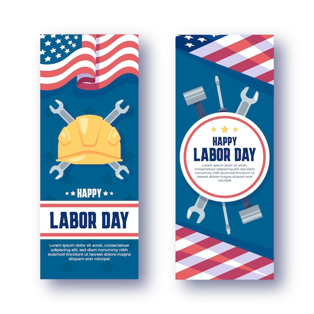 Zestaw pionowych banerów płaskich dni pracy