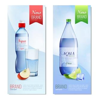 Zestaw pionowych banerów plastikowych butelek
