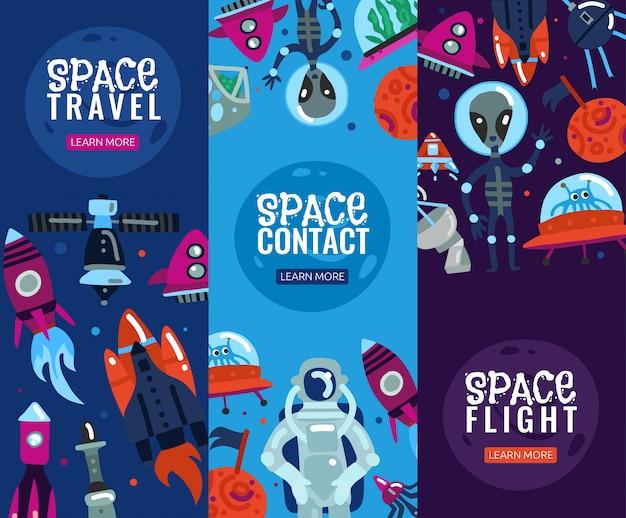 Zestaw pionowych banerów space travel