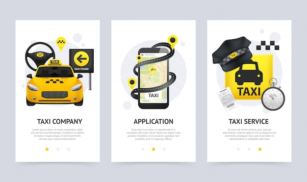 Zestaw pionowych banerów taxi