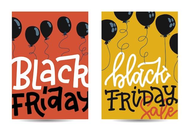 Zestaw pionowych banerów z black friday z czarnymi balonami oraz na czerwonym i żółtym tle ze sprzedażą letterinf. ilustracja w stylu.