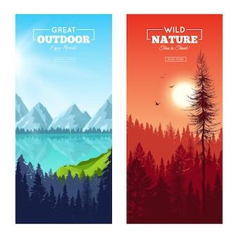 Zestaw pionowych banerów z realistycznym lasem sosnowym w pobliżu górskiego jeziora i na zachodzie słońca na białym tle