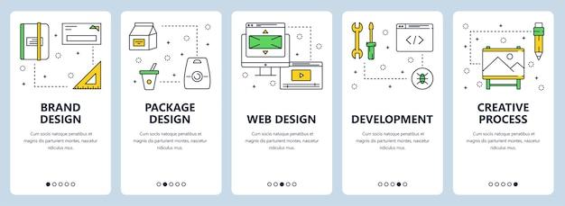 Zestaw pionowych banerów z szablonami stron internetowych dotyczących marki, projektowania stron internetowych, rozwoju, koncepcji procesu twórczego. projekt płaski nowoczesny cienka linia.