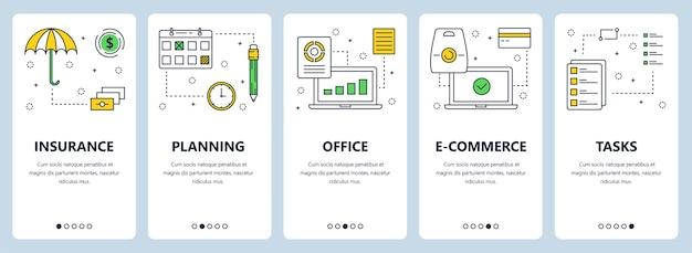 Zestaw pionowych banerów z szablonami stron ubezpieczenie, planowanie, biuro, e-commerce, zadania.