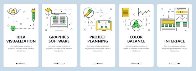 Zestaw pionowych banerów z wizualizacją pomysłu, oprogramowaniem graficznym, procesem kreatywnym, planowaniem projektu, balansem kolorów, szablonami interfejsu.