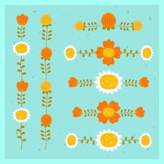 Zestaw pionowych i poziomych ozdób kwiatowych z czerwonymi kwiatami i rumiankami