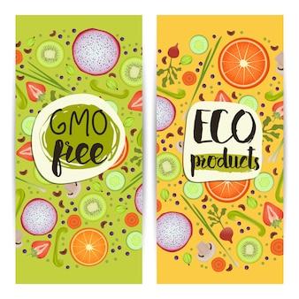 Zestaw pionowych ulotek produktów ekologicznych