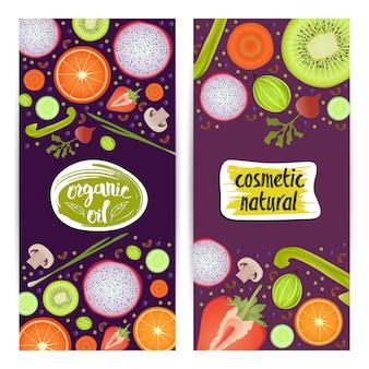 Zestaw pionowych ulotek z kosmetykami naturalnymi