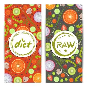 Zestaw pionowych ulotek zdrowej diety