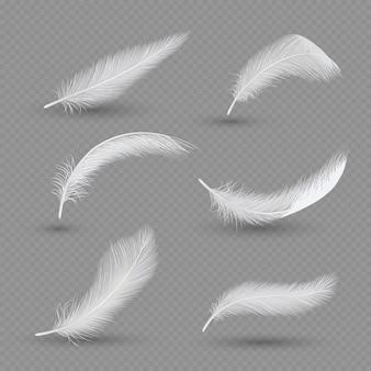 Zestaw piór białych ptaków, realistyczny