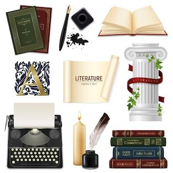 Zestaw piór realistycznych obiektów literatury z rocznika kałamarz książek i maszyny do pisania na białym tle