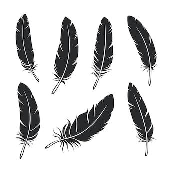 Zestaw piór sylwetki. glif czarny ptak pióro, na białym tle.