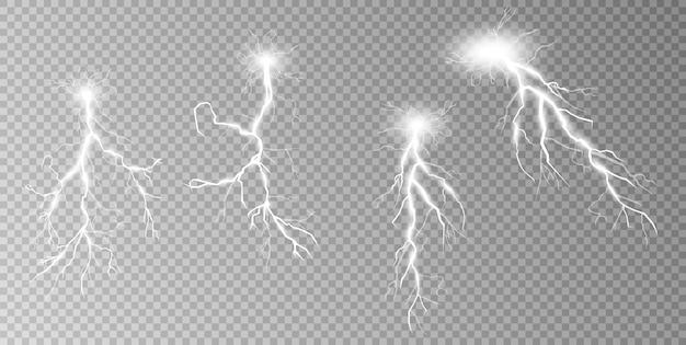 Zestaw piorunów burza z piorunami i błyskawice magiczne i jasne efekty świetlne
