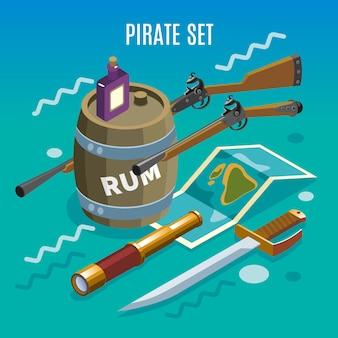 Zestaw piratów izometryczny