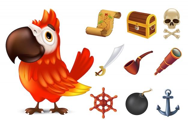 Zestaw piratów morskich z uroczą czerwoną papugą arą, ludzką czaszką, szablą, kotwicą, kierownicą, lunetą, czarną bombą, rurą, starożytną skrzynią i mapą skarbów. ilustracja na białym tle