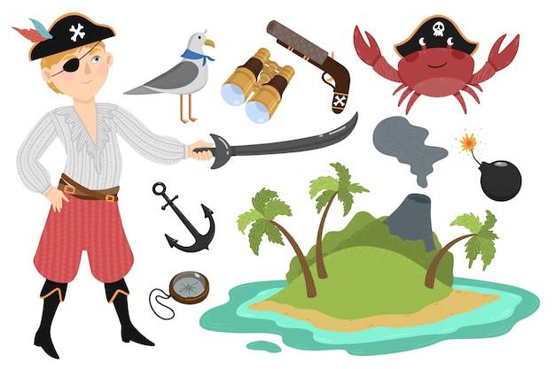 Zestaw piratów w stylu cartoon