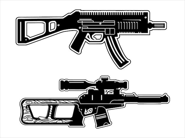 Zestaw pistoletów maszynowych, czarno-biały
