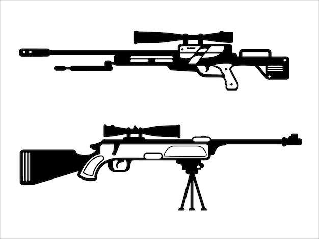 Zestaw pistoletów maszynowych sub czarno-biały
