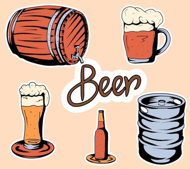Zestaw piwa. butelka, nakrętki do beczek i butelka z piwem. rysunek kreskówki. naklejki