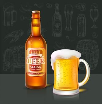 Zestaw piwa i szklanki typu classic