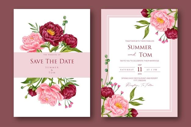 Zestaw piwonii akwarela kwiatowy zaproszenie na ślub