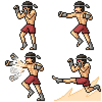 Zestaw pixel art muay thai fighter na białym tle