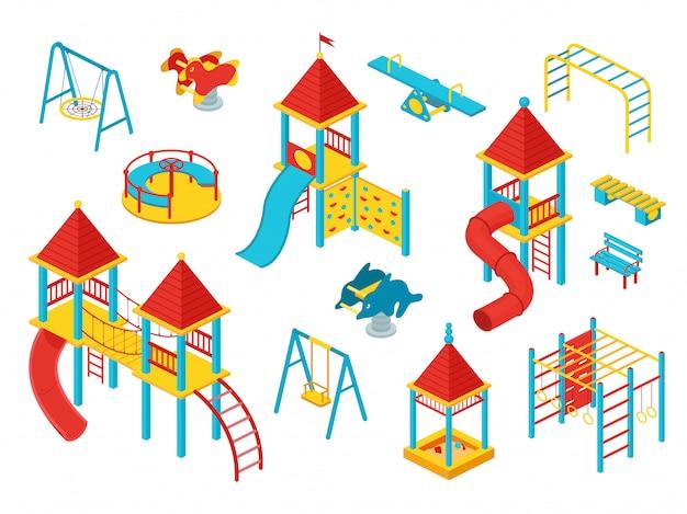 Zestaw plac zabaw dla dzieci izometryczny, ilustracja na białym tle, konstruktor zabaw dla dzieci ze zjeżdżalniami, domki dla dzieci i huśtawki.