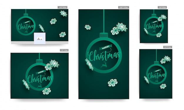 Zestaw plakat i szablon z tekstem wesołych świąt w wiszące bombki kształt ramki i papierowe płatki śniegu ozdobione na zielonym tle.